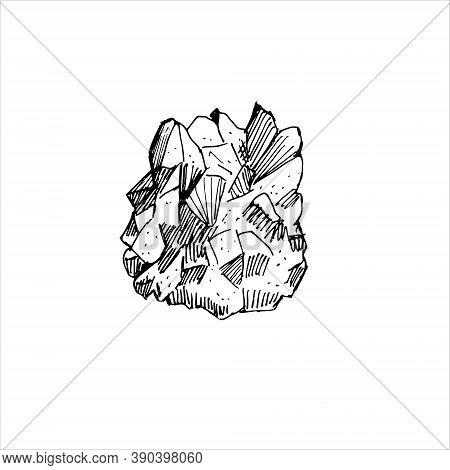 Vector Stock Illustration The Amethyst On White Background. Outline.