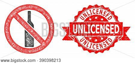 Wire Frame Forbidden Alcohol Icon, And Unlicensed Textured Ribbon Stamp Seal. Red Stamp Seal Has Unl