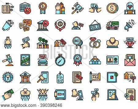 Auction Icons Set. Outline Set Of Auction Vector Icons Thin Line Color Flat On White