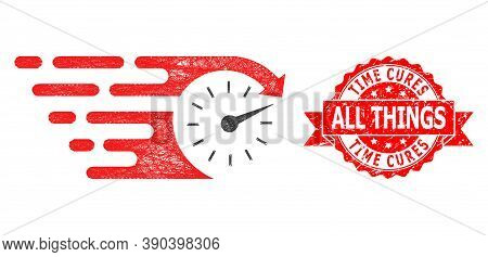 Network Time Icon, And Time Cures All Things Grunge Ribbon Stamp. Red Stamp Seal Includes Time Cures