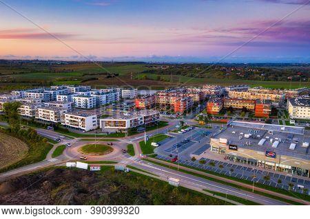 Pruszcz Gdanski, Poland - 18 October, 2020: Aerial scenery of residential area in Pruszcz Gdanski in Poland