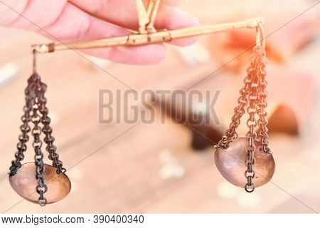 Retro Scales On The Chain Close-up. Vintage Bronze Scales In Hand., Textured