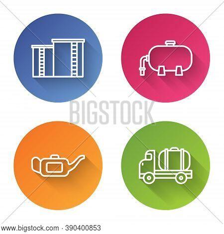 Set Line Oil Industrial Factory Building, Oil Industrial Factory Building, Canister For Motor Oil An