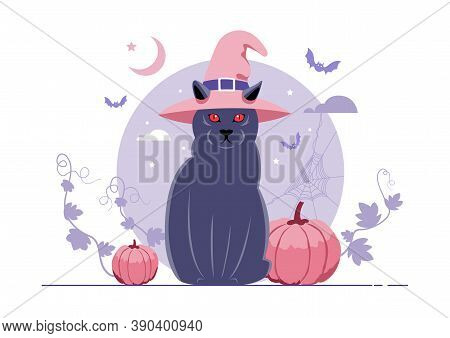 An Illustration Of A Black Cat With A Witch Hat