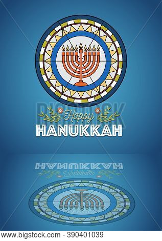 An Illustration Of Menorah For Hanukkah On Decorative Stained Glass