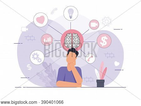 An Illustration Of A Man With His Mind Filled With Many Informations