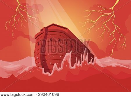 An Illustration Of Noah's Ark And The Great Flood. Bible Series