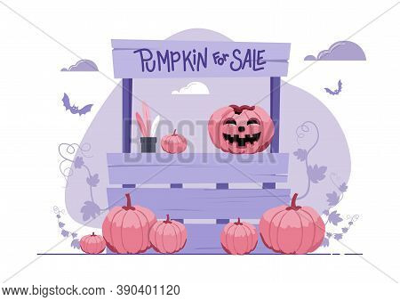An Illustration Of A Stand Selling Pumpkin On Halloween Day