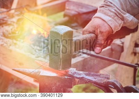 Create Craft Weapons In Vintage Style. An Ancient Method Of Forging A Blade By A Blacksmith. Forge I