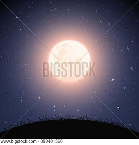 Landscape With Grassy Hill On Moonlight Night. Navy Blue Mysterious Background With Full Moon In Sta