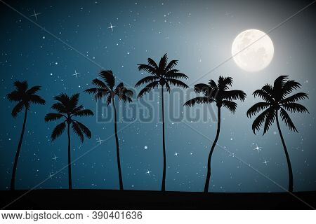 Landscape With Palm Trees On Beach On Moonlight Night. Blue Mysterious Background With Full Moon In