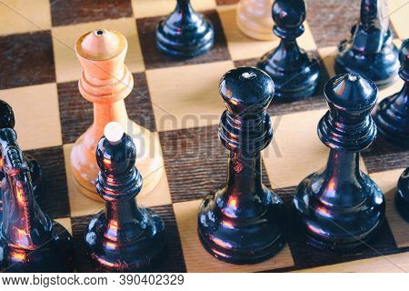 On The Chessboard The White Pieces Checkmated The Black Kin, Texturedg