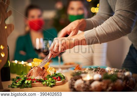 Christmas ham being served on the table