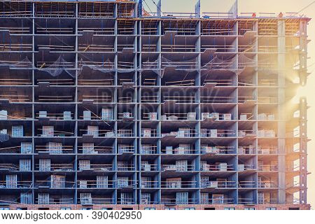 Construction Quarantined Due To Coronavirus, Background Of Unfinished Building, Textured
