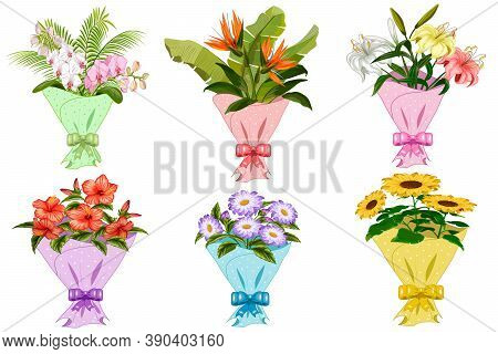 Collection Of Flowers In Bouquets.set Of Bouquets Of Flowers In Gift Wrapping On A White Background.