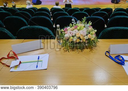 The Table Of The Jury At The Vocal Competition. Assessment Of The Participants Of The Music Competit