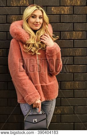 Glamorous Lady. Woman Wear Furry Coat. Winter Clothes. Fashion As Unique As You Are. Pink Sheepskin
