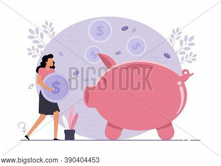An Illustration Of A Woman Putting Savings In Piggy Bank