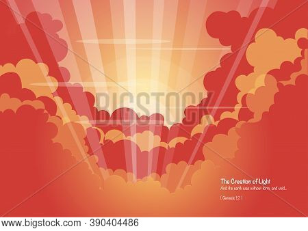 An Illustration Of God Created Light In The Beginning, Bible Series
