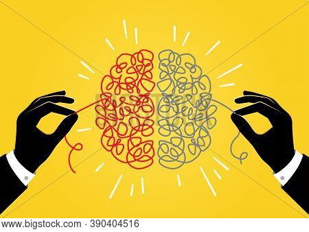 An Illustration Of Two Hands Unravelling Tangled String Inside Of The Person's Head