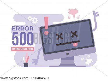 An Illustration Of Error 500. Modern Flat Design Concept Of Desktop Computer For Website