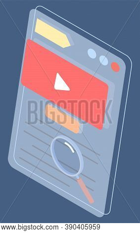 Video Player Interface. Social Website With Video Content. Search Video At Site In Internet. Magnify