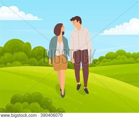 Young Couple Walks On Green Meadow, Lush Bushes, Forest Plants, Lush Meadows, Meadow, Field, Country