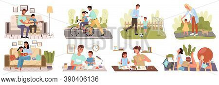 Family Life Style Concept Vector Flat Icon Set. Care, Trust And Support Between Parents And Children