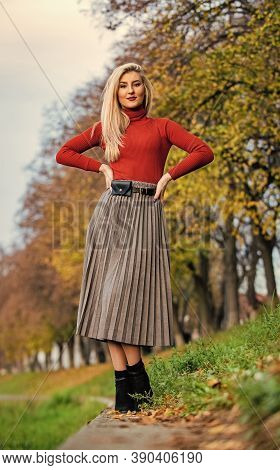 It Is My Fall Style. Clothing Features. Must Have Skirt. Trendy Girl Wear Midi Skirt. Pleated Skirt