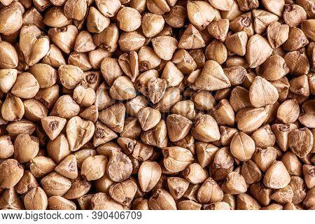 Macro Photo Food Buckwheat Groats. Texture Background