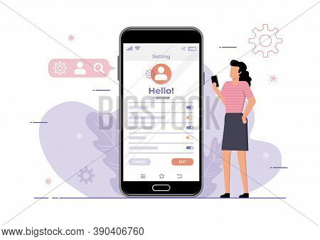 An Illustration Of A Woman Setting Personal Information On Social Media Platform