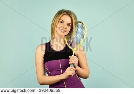 In Good Mood. Squash Tennis Racquet Sports. Smiling Woman Training. Woman Playing Tennis. Tennis Gam