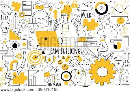 Team Building Doodle Set. Collection Of Hand Drawn Sketches Templates Patterns Of Businesmen Women C