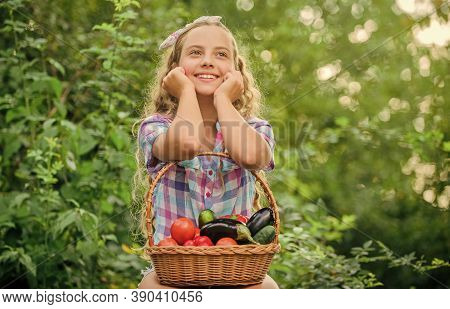 Healthy Food Concept. Girl Cute Smiling Child Living Healthy Life. Healthy Lifestyle. Kid Hold Baske