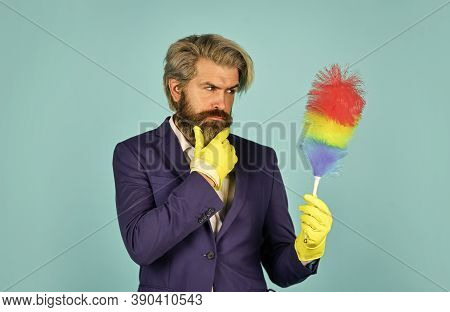 Office Duster. Man Use Pp Duster. Dust Allergy. Businessman Cleaning Office. Cleaning Service. House