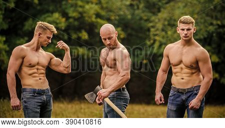 Men With Muscular Torso. Wild Masculinity. Brotherhood Concept. Strength And Perseverance. Strong Me