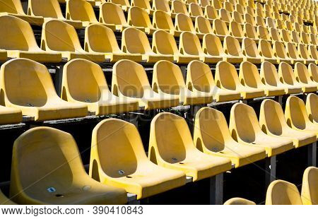 Chairs For Audience. Cultural Environment Concept. Color And Symmetry. Empty Seats. Modern Stadium.