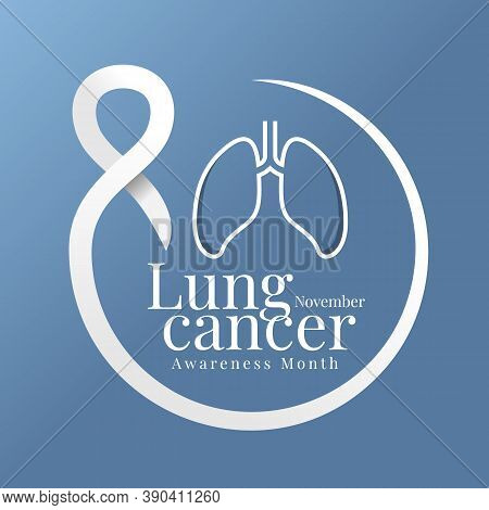 Lung Cancer Awareness Month November Banner With Lung Line Sign And Text In White Ribbon Circle Arou
