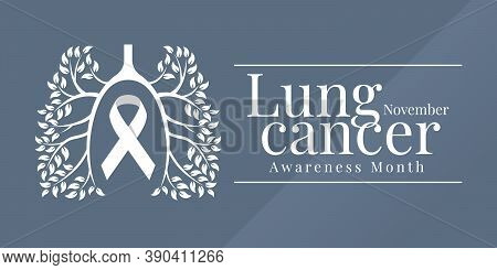 Lung Cancer Awareness Month November Banner With White Leaf Branch Tree Lung And White Ribbon Sign V