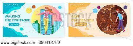Woman Walk On A Tightrope. Cave Explorer Speleologist. Extreme Sport And Speleology Vector Concept I
