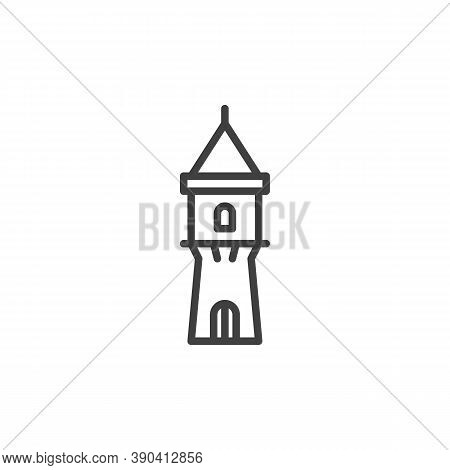 Medieval Tower Line Icon. Linear Style Sign For Mobile Concept And Web Design. Ancient Castle Tower