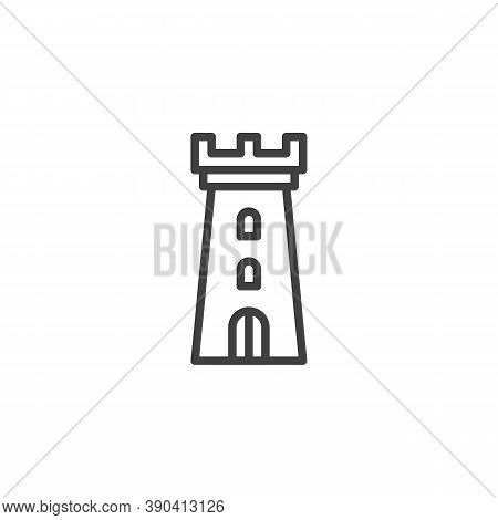 Castle Tower Line Icon. Linear Style Sign For Mobile Concept And Web Design. Fortress Tower Outline