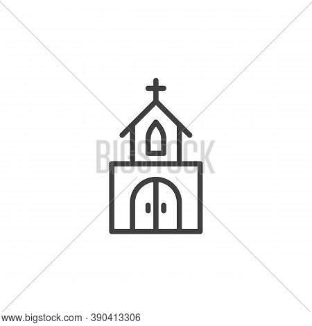 Church Building Line Icon. Linear Style Sign For Mobile Concept And Web Design. Church Chapel Outlin