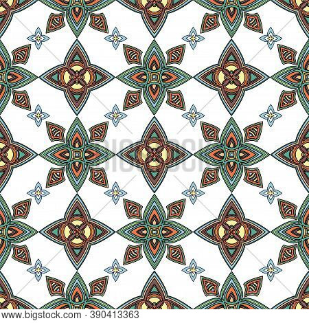 Abstract Colorful Ornament, Oriental Curve Swirls Seamless Pattern With Flowers And Curl, Openwork.