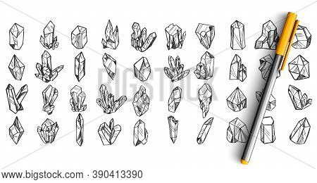 Crystals Doodle Set. Collection Of Pen Pencil Ink Hand Drawn Sketches Templates Patterns Of Crystall