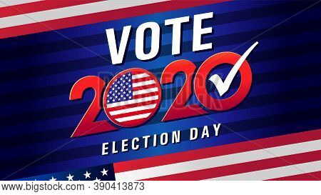 Vote 2020 In Usa, Blue Stripes Banner With Flag. American Patriotic Background For Election Day. Usa