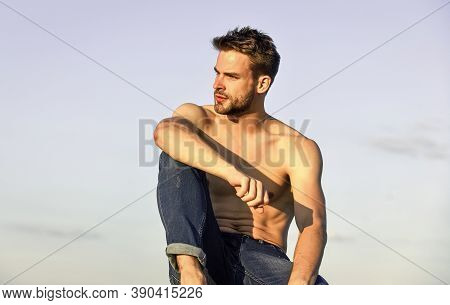 Little Break. Young Athletic Guy With Muscular Body. Sportsman And Fitness Model. Naked Strong Man.