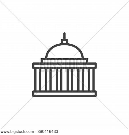 Capitol Building Line Icon. Courthouse Linear Style Sign For Mobile Concept And Web Design. Capitol