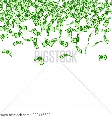 American Dollar Notes Falling. Small Usd Bills On White Background. Usa Money. Cool Vector Illustrat
