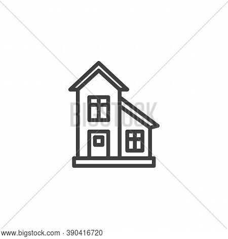 Townhouse, Cottage Building Line Icon. Linear Style Sign For Mobile Concept And Web Design. Country